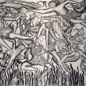 Amita Bhatt, A Fantastic Collision of The Three Worlds # XVIX, 2013, charcoal on canvas, 9 x12 feet