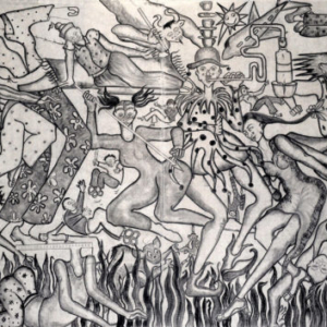 Amita Bhatt, A Fantastic Collision of The Three Worlds # XX, 2013, charcoal on canvas, 9 x 12 feet