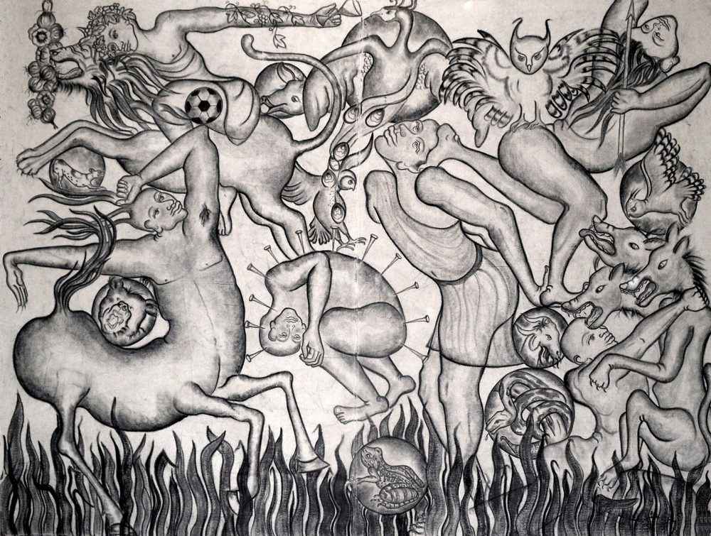 Amita Bhatt, A Fantastic Collision of The Three Worlds # XXII, 2013, charcoal on canvas, 9 x 12 feet