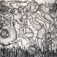 Amita Bhatt, A Fantastic Collision of The Three Worlds # XXII, 2013, charcoal on canvas, 9 x 12 feet