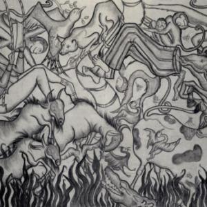 Amita Bhatt, A Fantastic Collision of The Three Worlds # XXIII, 2013, charcoal on canvas, 9 x 12 feet