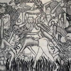 Amita Bhatt, A Fantastic Collision of The Three Worlds # XXIV, 2013, charcoal on canvas, 9 x 12 feet