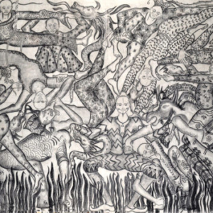 Amita Bhatt, A Fantastic Collision of The Three Worlds # XXV, 2013, charcoal on canvas, 9 x 12 feet