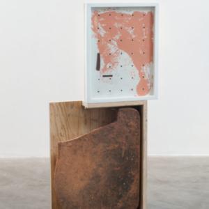 Brion Nuda Rosch, Potrait from Waist Up, 2013, acrylic, found ceramic, wood, 37 3/4 x 18 1/2 x 4 inches