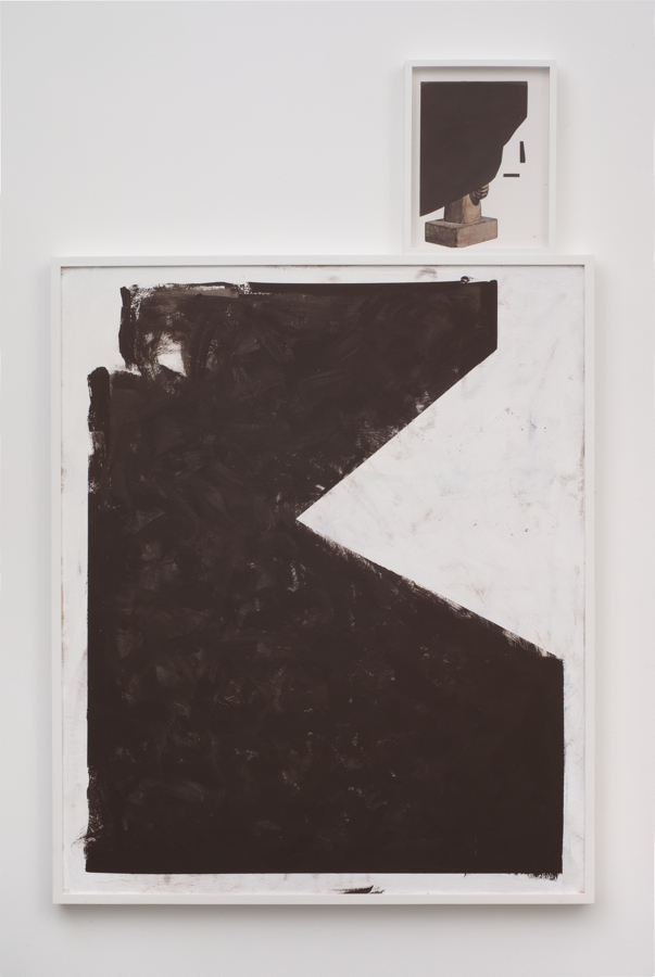 Brion Nuda Rosch, Portrait (Kneeling), 2013, acrylic, wood, found book page, frame, 67 x 41 inches