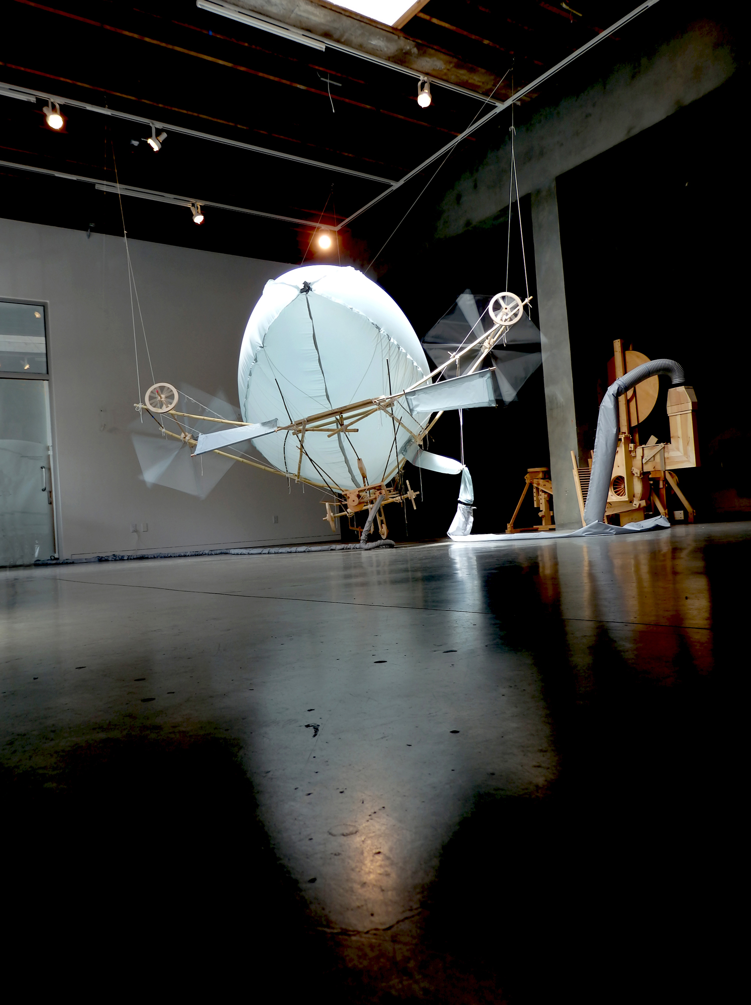 Bernie Lubell, Le Canard, 2015, Southern Exposure Gallery, SF, CA Bamboo, coated rip stop nylon, pine, maple & maple plywood, cotton twine, nylon line, music wire and air, 15(h) x 32 x 32 feet