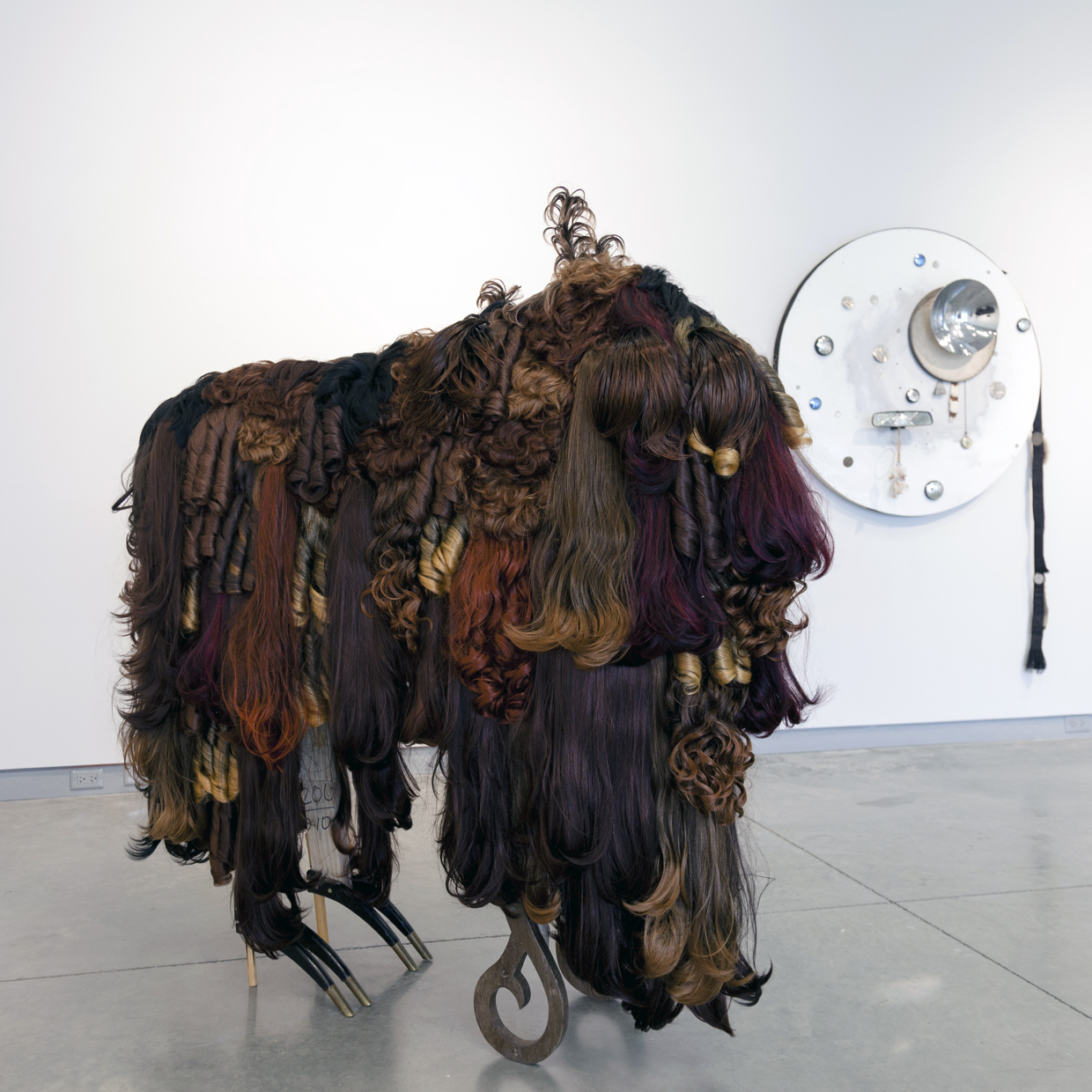 Juan Angel Chavez, Buffalo Sade, 2015, synthetic hair, foam, wood