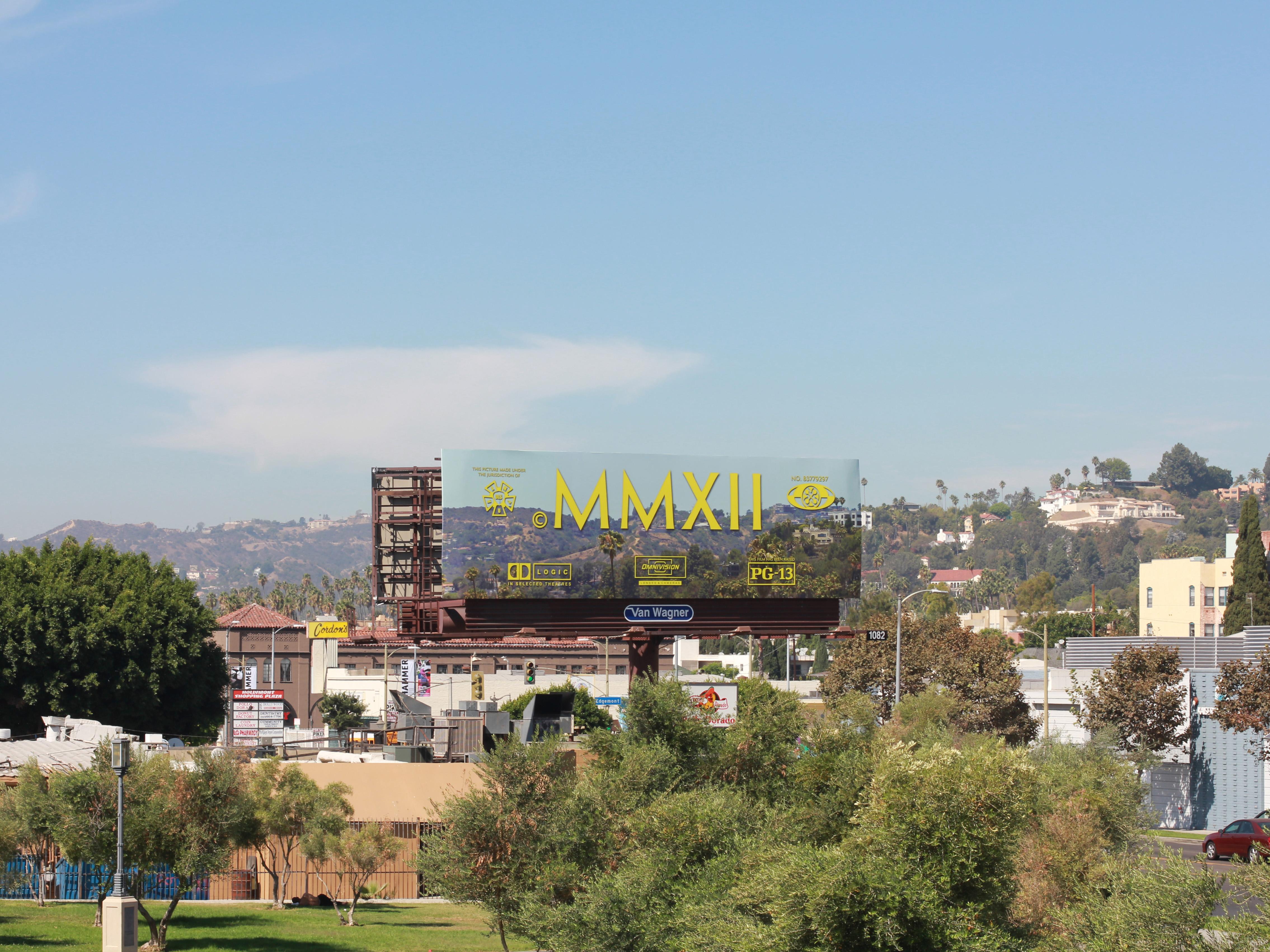Cayetano Ferrer, End Credits on Hollywood, 2012, billboard on Hollywood Blvd