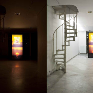 Cayetano Ferrer, Problem Gambling Monolith, 2008, MDF, duratranst, print on acrylic, fluorescent lights