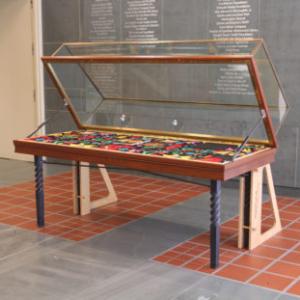 Cayetano Ferrer, FIESTA, 2010, casino carpet, wood fill-in, book