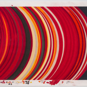 Carrie Gundersdorf, False color image of density waves in Saturn's A ring, 2015, colored pencil and watercolor on paper, 44 x 57 inches