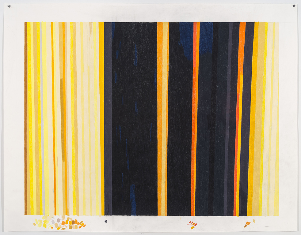 Carrie Gundersdorf, Mapping Saturn's rings, yellow and orange, 2015, colored pencil and watercolor on paper, 43 x 55 1/2 inches
