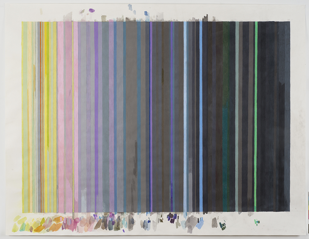 Carrie Gundersdorf, False color view of rings of Uranus, 2014, colored pencil and watercolor on paper, 43 1/2 x 57 inches