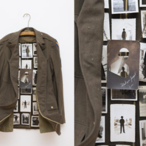 Caleb Cole, Lest You Forget, 2014, WWII uniform with altered vintage photographs of military men, from the series Histories