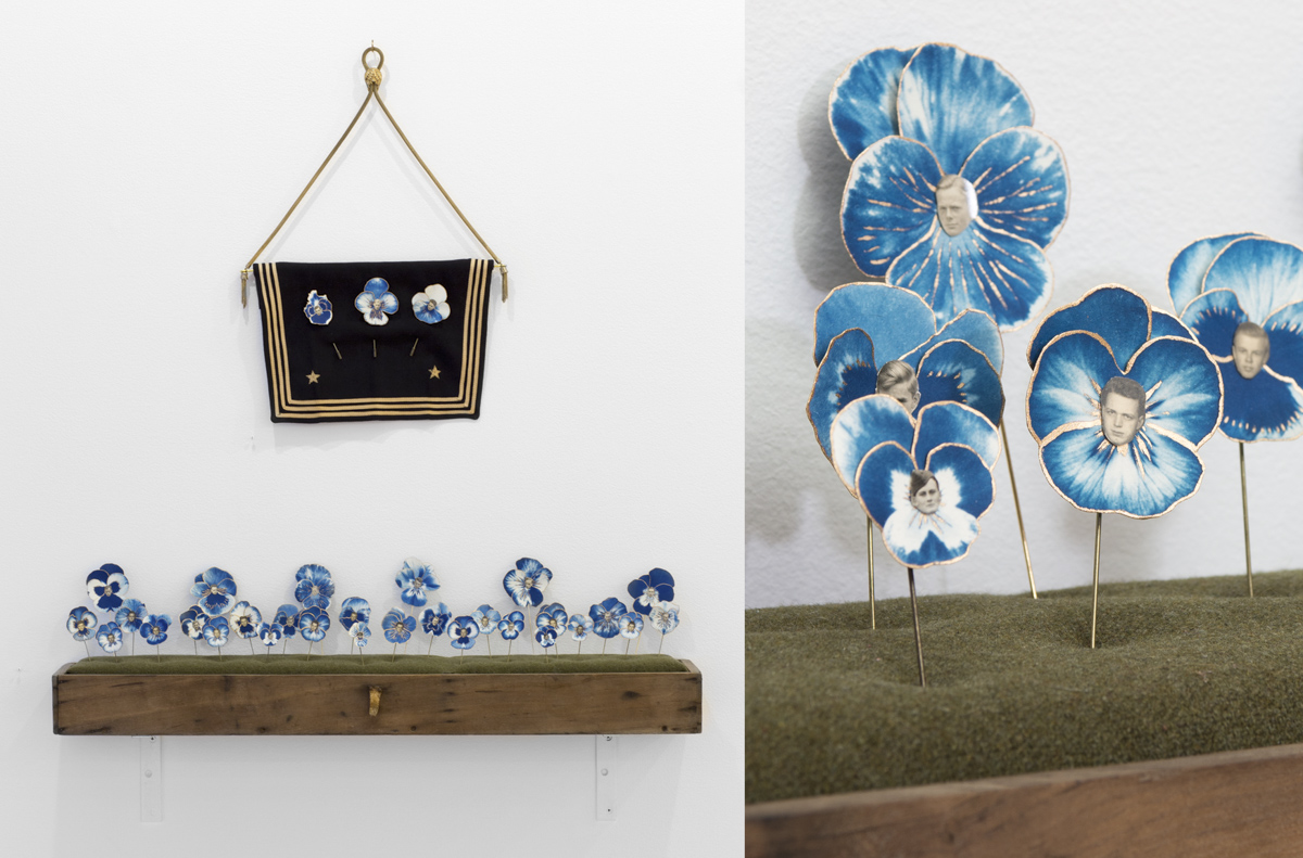 Caleb Cole, Pansies and Pansies (Gold Star Banner), 2014, cyanotype, liquid gilding, watercolor, vintage photographs of men, stick pin. Banner: Pansies, and WWII navy uniform, 1940s necklace, from the series Histories