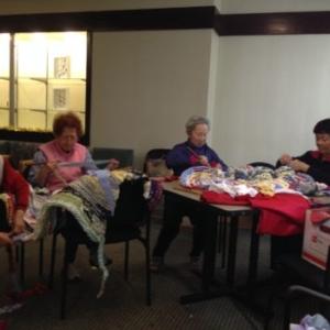 Ramekon O'Arwisters, Crochet Jam, Valdez Plaza, an independent living community for seniors, Oakland, California, 2014