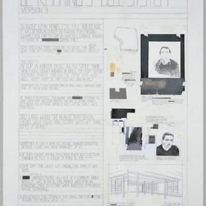 Deb Sokolow, de Kooning's Bell System, 2012, acrylic, graphite, charcoal, tape, collage on panel, 50 x 38 x 1 1/2 inches