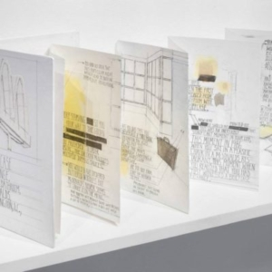 Deb Sokolow, Briefcase Exchange, Men's Bathroom, McDonalds, Washington, D.C., 1986, 2010, graphite, acrylic, ink, collage on acid-free paper, accordion fold, hard-cover, 9 x 6 inches