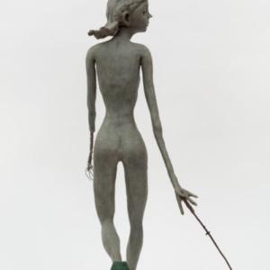 Deva Graf, Logos, 2017, bronze, steel wire, nylon shoelaces, 33 x 26 x 10 inches
