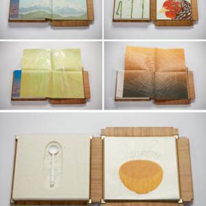 Diane Jacobs, NOURISH, 2012, letterpress text, reduction linoleum and wood blocks, felt, cast cotton paper, cast porcelain, bamboo, 8 x 8 x 2 inches