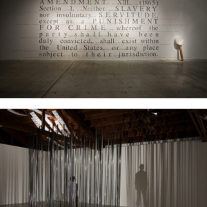 Diane Jacobs, The Writeing's on the Wall , 2008, stenciled text, metal bars, paper, variable size