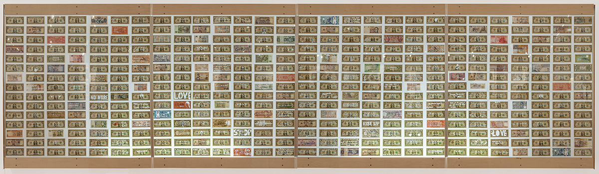 Diane Jacobs, $PEAK OUT, 2015, laser cut real currency , 4 x 16 feet