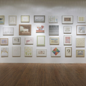 """Francesca Fuchs, """"(Re)Collection"""" (installation view), Texas Gallery, Houston, TX, 2013, 49 paintings from 2010 - 2013"""