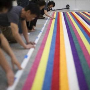 Gyun Hur, Spring Hiatus, 2011, hand-shredded silk flowers, 30 x 16 feet