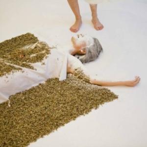 Gyun Hur, A Blanket of Requiem, 2009, shredded blanket, white powder, 4 x 10 feet