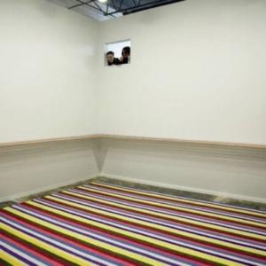 Gyun Hur, Repose, 2011, hand-shredded silk flowers, 15 x 50 x 3 1/2 feet