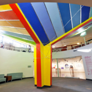Gisela Insuaste, The Inverted Umbrella/Landscape: Breuer's Sunshine, Goose-style, 2011, latex acrylic paint, aluminum foil tape, and polypropylene rope, variable size