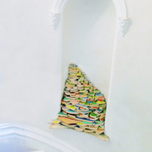 Gisela Insuaste, Coffin's Corner, 2012, latex acrylic paint, aluminum foil tape, and polypropylene rope, variable size