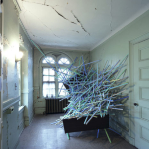 Gisela Insuaste, Sueños en su cama, 2010, latex acrylic on wood, metal bed frames, variable size