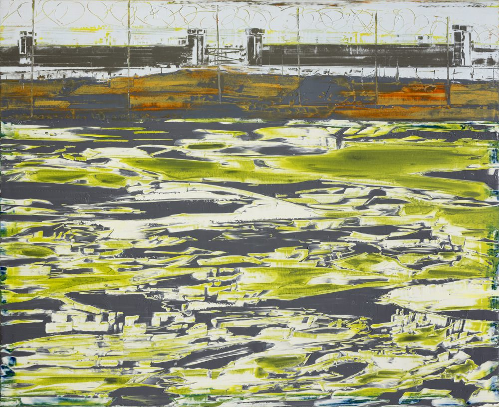 Gilad Efrat, Ktzi'ot Prison on the Moon (Negev), 2013, oil on canvas, 59 x 73 inches