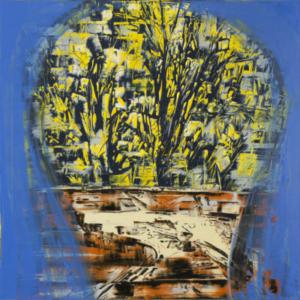 Gilad Efrat, Tamarisk Negev, 2014, oil on canvas, 63 × 63 × 1 1/2 inches