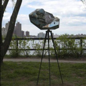 Jillian Conrad, Relative Distants: small rock, 2011, alumunum, steel, foam, 74 x 34 x 12 inches