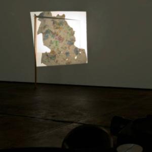 Jillian Conrad, Flag, 2012, opal shards, projector, plexi, variable