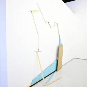 Jillian Conrad, Trump Loy, 2011, foam, wood, brass, tape, 78 x 71 x 10 inches