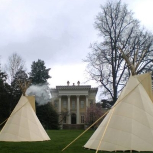 J Hill, Hideouts, 2008, Handmade Teepees w/ smoke, 260 x 216 x 216 inches each