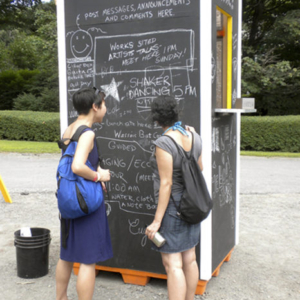 John Osorio-Buck, Utopia 9; Community Kiosk 2012, chalkboard community kiosk, solar powered phone-charger, variable size