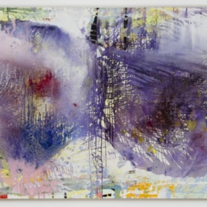 Jackie Saccoccio, Fleeting Profiles (Cop 663 / Faye), 2015, oil and mica on linen, 79 x 152 inches