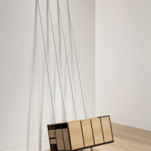Jeff Carter, The Common Citizenship of Forms (Power Plant), 2010, modified IKEA products (laminated MDF, aluminum, hardware), 100 H x 36 W x 24 D inches