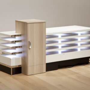 Jeff Carter, The Common Citizenship of Forms (Surgical Hospital), 2010, modified IKEA products (laminated MDF, paper, LED lights, hardware), programmed microcontroller, 36 H x 70 W x 35 D inches