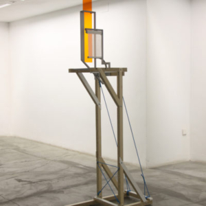Jeff Carter, Construction D, 2012, modified IKEA products (laminated MDF, aluminum, nylon rope, fabric, hardware), steel, acrylic plastic, 78 H x 18 W x 36 D inches