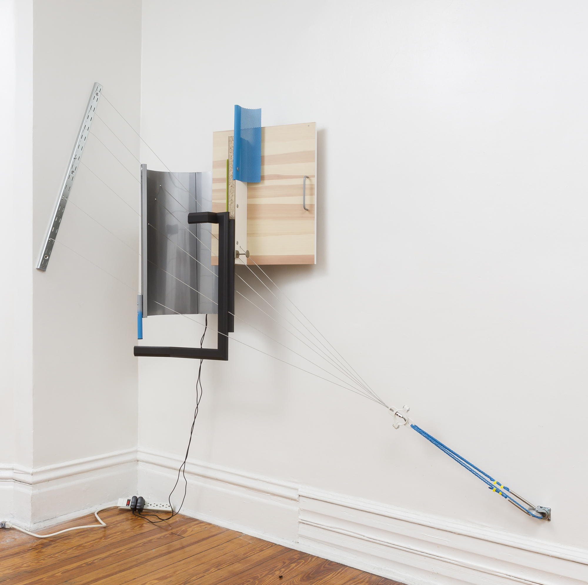 Jeff Carter, FAKTURA: A, 2015, modified IKEA products (steel, laminated MDF, polypropylene, nylon, hardware), transducers, amplifiers, MP3 players, 2-­‐channel audio composition, 60 H x 72 W x 22 D inches