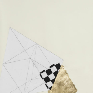 Karen Reimer, Geometry in Outer Space or Heaven #17, 2015, collaged paper, graphite, fabric, gold leaf, 30 5/8 x 24 15/16 inches