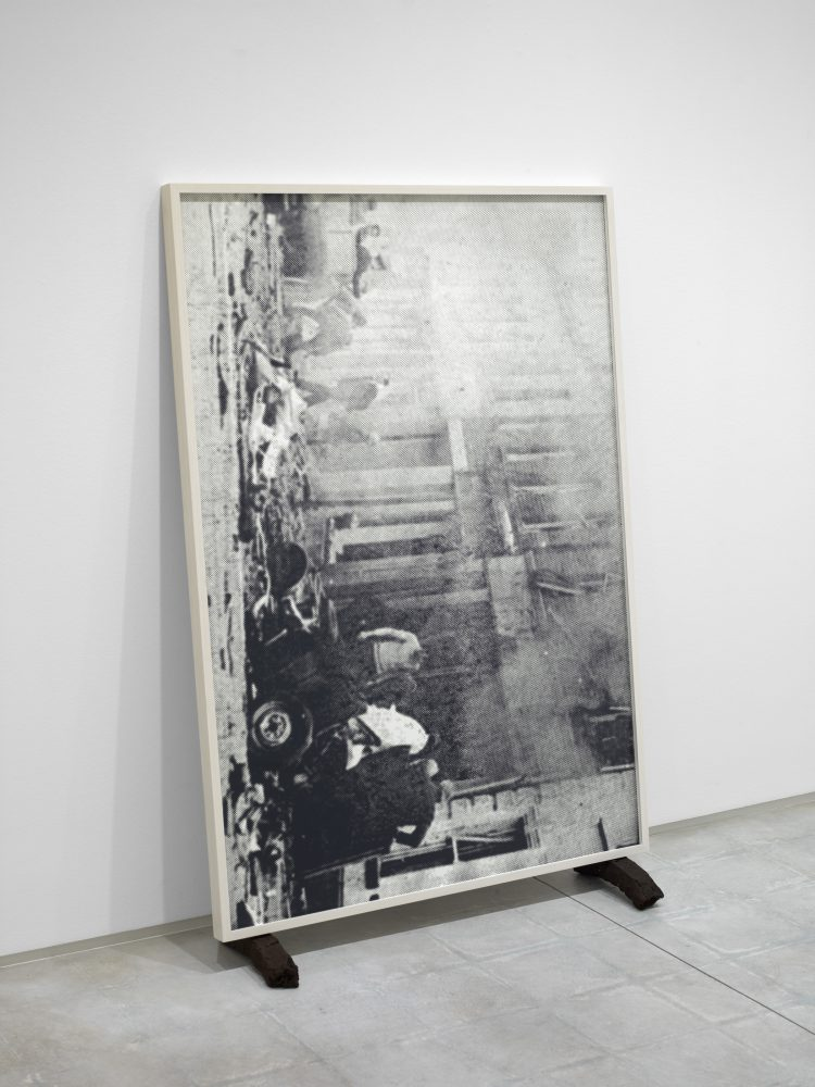Katrina Moorhead, Woman Survives Fatal Bomb Blast Forty Years Before She Realizes She Has, 2013, mica dust and transparent litho ink on Alpha 8ply rag mat board (printed repeatedly), 59 1/2 x 40 1/2 x 15 inches