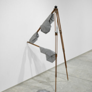 Katrina Moorhead, The bird that never lands(cape), 2013, antique wooden tripod, 3M retro-reflective fabric, silver boucle, thread, dimensions variable (52 x 26 x 18 inches)