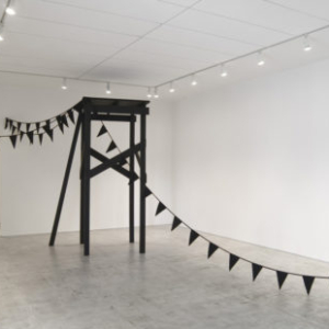 Katrina Moorhead, Untitled (Pier), Black Bunting, 2010, wood, paint, screws, linen, cotton, 95 x 48 x 47 1/4 inches