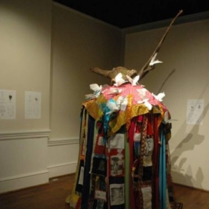 Lynn Marshall-Linnemeier, Morgan County Again, 2010, mixed media: fabric, wood, etc., variable (apprx. 120 x 48 x 48 inches)